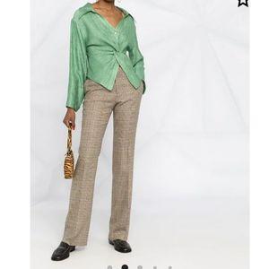 ETRO Plaid Brown Cotton Straight Leg Pants M